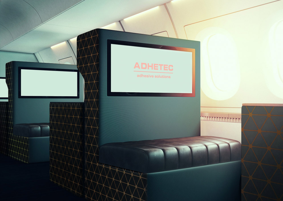 interior decoration vip area in aircraft cabin with Adheskin by Adhetec